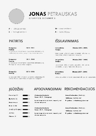 Šiuolaikiškas CV šablonas