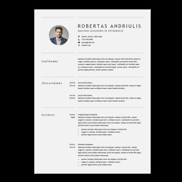 Paprastas CV šablonas