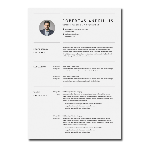 Paprastas CV šablonas anglų kalba