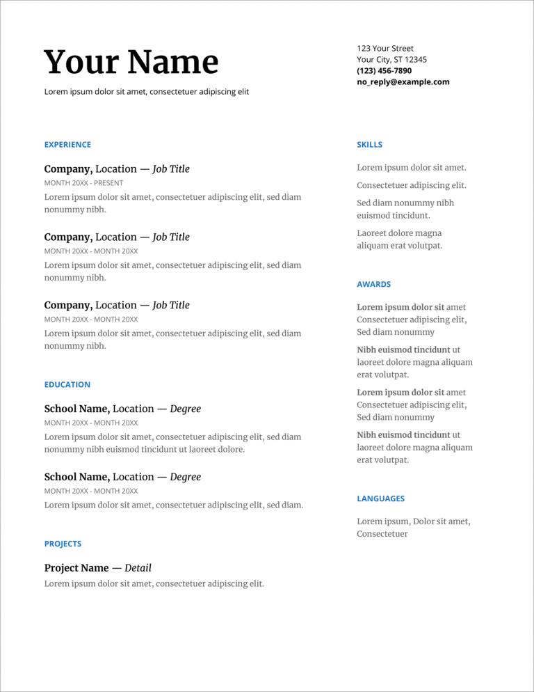 Serif Google Docs CV šablonas
