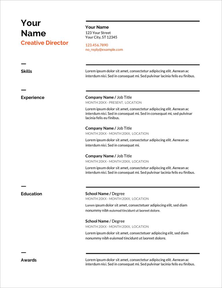 Swiss Google Docs CV šablonas