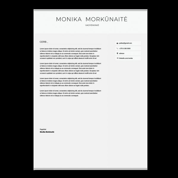 Vadybininko motyvacinio laiško šablonas
