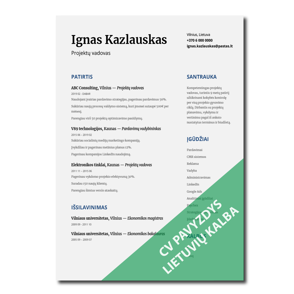 cv pavyzdys lietuviu kalba