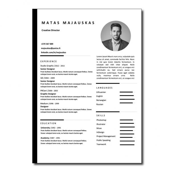 CV šablonas su nuotrauka anglų kalba
