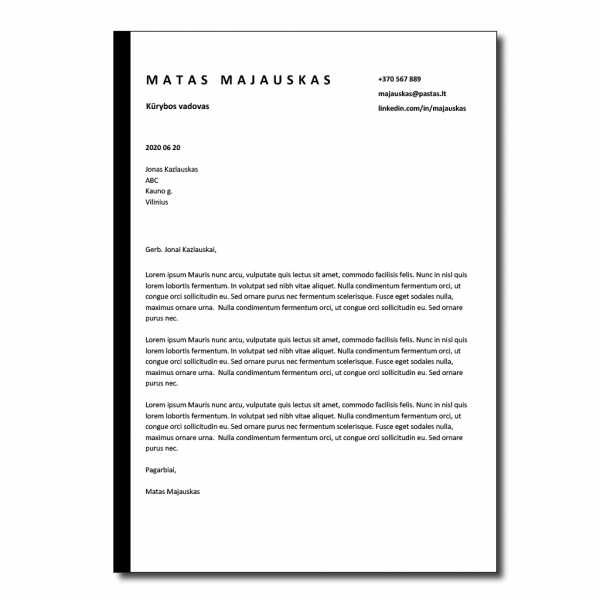 Motyvacinis laiškas lietuvių kalba