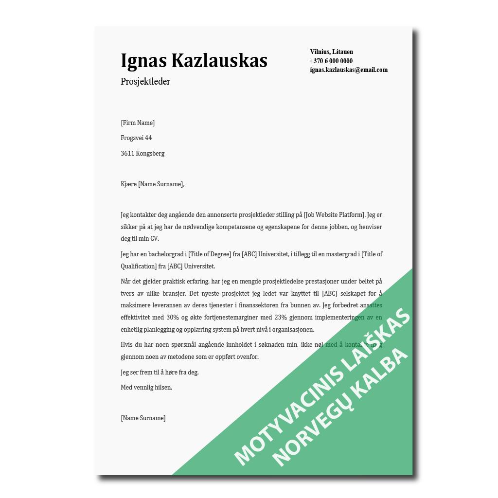 Motyvacinis laiškas norvegų kalba